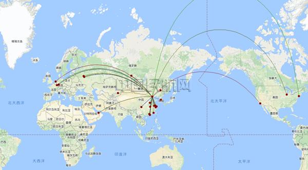 9家货运航空公司运营航线网络结构图 以上数据均来自oag数据库