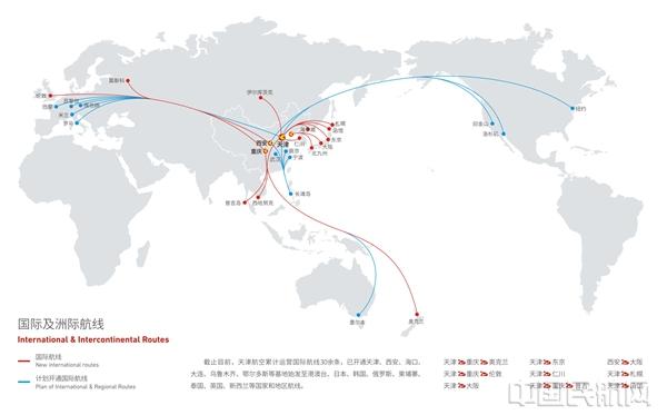 天津航空国际及洲际航线网络规划图
