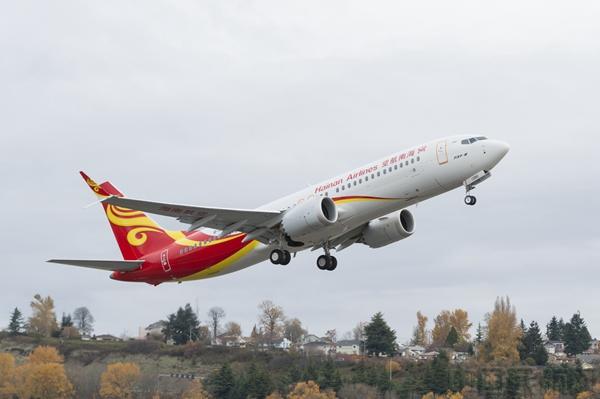 max 8 hu7181航班从海口美兰机场起飞前往北京,标志着海南航空波音737
